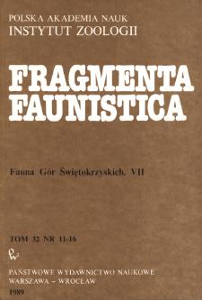 Fragmenta Faunistica - Strony tytułowe, spis treści - t. 32, nr. 11-16 (1989)