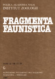Fragmenta Faunistica - Strony tytułowe, spis treści - t. 32, nr. 17-20 (1989)