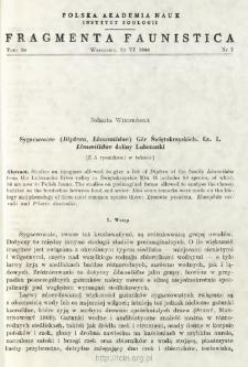 Sygaczowate (Diptera, Limoniidae) Gór Świętokrzyskich. Cz. 1. Limoniidae doliny Lubrzanki