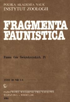 Fragmenta Faunistica - Strony tytułowe, spis treści - t. 30, nr. 1-8 (1986)