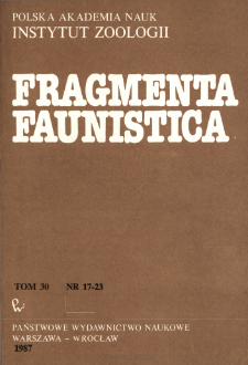 Fragmenta Faunistica - Strony tytułowe, spis treści - t. 30, nr. 17-23 (1987)