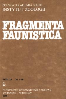Fragmenta Faunistica - Strony tytułowe, spis treści - t. 29, nr. 1-10 (1985)
