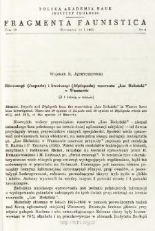 """Równonogi (Isopoda) i krocionogi (Diplopoda) rezerwatu """"Las Bielański"""" w Warszawie"""