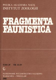 Fragmenta Faunistica - Strony tytułowe, spis treści - t. 29, nr. 13-19 (1985)