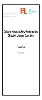 Cultural Nature: A Few Words on the Object of Literary Cognition