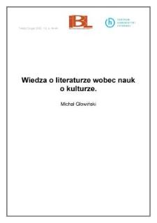 Wiedza o literaturze wobec nauk o kulturze
