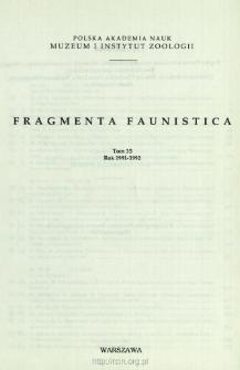 Fragmenta Faunistica - Strony tytułowe, spis treści - t. 35, nr. 1-24 (1991-1992)