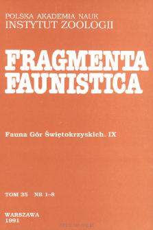 Fragmenta Faunistica - Strony tytułowe, spis treści - t. 35, nr. 1-8 (1991)