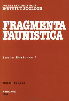 Fragmenta Faunistica - Strony tytułowe, spis treści - t. 35, nr. 15-24 (1992)