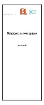 Gombrowicz na nowo opisany
