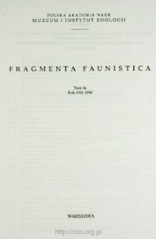 Fragmenta Faunistica - Strony tytułowe, spis treści - t. 36, nr. 1-25 (1993-1994)