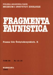 Fragmenta Faunistica - Strony tytułowe, spis treści - t. 36, nr. 12-18 (1993)