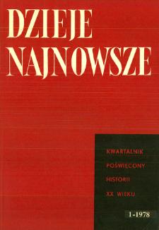 Dzieje Najnowsze : [kwartalnik poświęcony historii XX wieku] R. 10 z. 1 (1978), Title pages, Contents