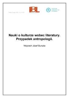 Nauki okulturze wobec literatury. Przypadek antropologii