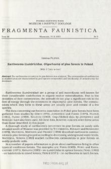 Earthworms (Lumbricidae, Oligochaeta) of pine forests in Poland