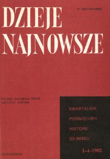 Dzieje Najnowsze : [kwartalnik poświęcony historii XX wieku] R. 14 z. 1-4 (1982), Title pages, Contents