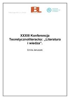 """XXXIII Konferencja Teoretycznoliteracka: """"Literatura i wiedza"""""""
