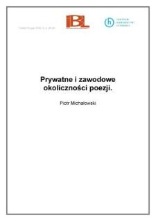Prywatne izawodowe okoliczności poezji