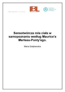 Sensotwórcza rola ciała w samopoznaniu według Mauric`a Merleau-Ponty`ego