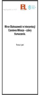 Miron Białoszewski w interpretacji Czesława Miłosza - cztery tłumaczenia