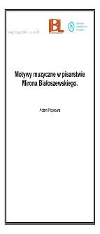 Motywy muzyczne w pisarstwie Mirona Białoszewskiego