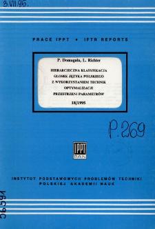 Hierarchiczna klasyfikacja głosek języka polskiego z wykorzystaniem technik optymalizacji przestrzeni parametrów