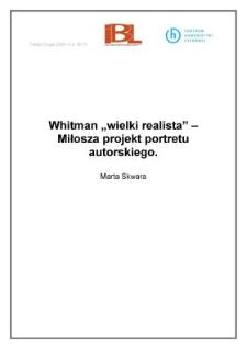 """Whitman """"wielki realista"""" - Miłosza projekt portretu autorskiego"""