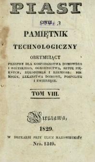 Piast : czyli pamiętnik technologiczny obeymujący przepisy dla gospodarstwa domowego i wieyskiego, ogrodnictwa, sztuk pięknych, rękodzielni i rzemiosł, niemniej lekarstwa domowe, pospolite i zwierzęce, T. 8 (1829).