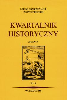 Kwartalnik Historyczny R. 105 nr 3 (1998), Strony tytułowe, spis treści