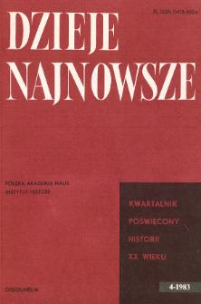Dzieje Najnowsze : [kwartalnik poświęcony historii XX wieku] R. 15 z. 4 (1983), Strony tytułowe, Spis treści