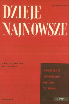 Dzieje Najnowsze : [kwartalnik poświęcony historii XX wieku] R. 15 z. 3 (1983), Strony tytułowe, Spis treści