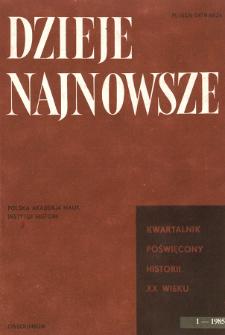 Dzieje Najnowsze : [kwartalnik poświęcony historii XX wieku] R. 17 z. 1 (1985), Strony tytułowe, Spis treści