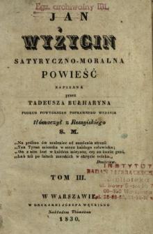 Jan Wyżygin : satyryczno-moralna powieść. T. 3 /