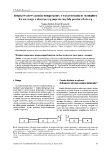 Bezprzewodowy pomiar temperatury z wykorzystaniem rezonatora kwarcowego z akustyczna poprzeczną falą powierzchniową