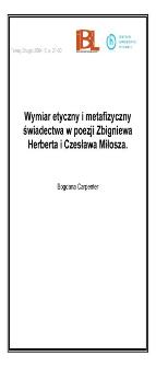 Wymiar etyczny i metafizyczny świadectwa w poezji Zbigniewa Herberta i Czesława Miłosza