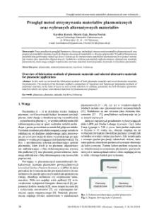 Przegląd metod otrzymywania materiałów plazmonicznych oraz wybranych alternatywnych materiałów = Overview of fabrication methods of plasmonic materials and selected alternative materials for plasmonic applications
