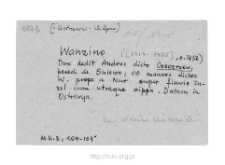 Cietrzewki-Warzyno, now part of village Szpice-Chojnowo. Files of Nur district in the Middle Ages. Files of Historico-Geographical Dictionary of Masovia in the Middle Ages