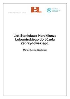 List Stanisława Herakliusza Lubomirskiego do Józefa Zebrzydowskiego