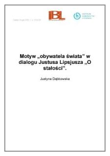 """Motyw """" obywatela świata"""" w dialogu Justusa Lipsjusza """" O stałości """""""