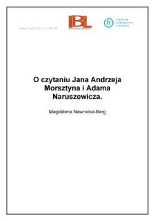 O czytaniu Jana Andrzeja Morsztyna i Adama Naruszewicza