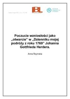 """Poczucie wzniosłości jako """"otwarcie"""" w """" Dzienniku mojej podróży z roku 1769"""" Johanna Gottfrieda Herdera"""