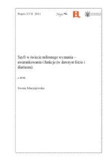 Szyfr w świecie miłosnego wyznania - uwarunkowania i funkcje (w dawnym liście i diariuszu)