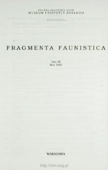 Fragmenta Faunistica - Strony tytułowe, spis treści - t. 38, nr. 1-25 (1995)