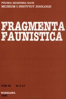 Fragmenta Faunistica - Strony tytułowe, spis treści - t. 38, nr. 3-13 (1995)