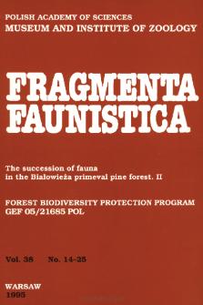 Fragmenta Faunistica - Strony tytułowe, spis treści - t. 38, nr. 14-25 (1995)