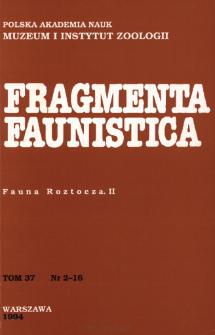 Fragmenta Faunistica - Strony tytułowe, spis treści - t. 37, nr. 2-16 (1994)