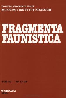 Fragmenta Faunistica - Strony tytułowe, spis treści - t. 37, nr. 17-23 (1995)