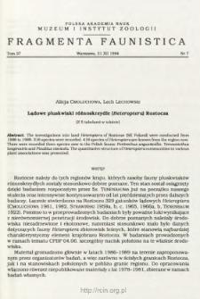 Lądowe pluskwiaki różnoskrzydłe (Heteroptera) Roztocza