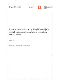 Rytuał w zwierciadle cenzury. Urząd Kontroli jako strażnik kultowego obrazu władzy w początkach Polski Ludowej