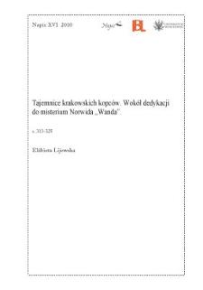 """Tajemnice krakowskich kopców. Wokół dedykacji do misterium Norwida """"Wanda"""""""
